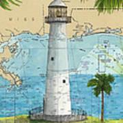 Biloxi Lighthouse Ms Nautical Chart Art Cathy Peek Art Print