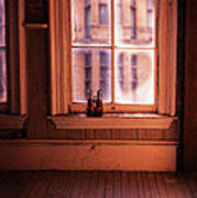 Binoculars On Windowsill Art Print