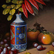 Birch And Sumac With Persimmons Art Print by Timothy Jones