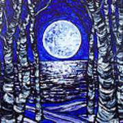 Birches With Shining Water Art Print