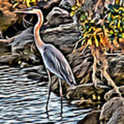Bird By The Water Art Print