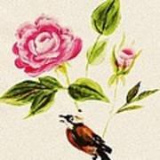 Bird On A Flower Art Print