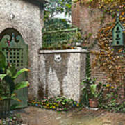 Birdhouse And Gate Print by Terry Reynoldson