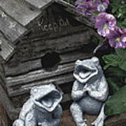 Birdhouse With Frogs Art Print