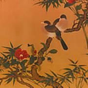 Birds Bamboo And Camellias Art Print