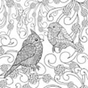 Birds Coloring Page. Animals. Hand Art Print