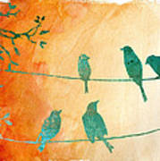 Birds Gathered On Wires-5 Art Print