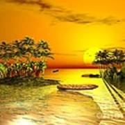 Birds In Flight Above A Golden Sunset Art Print