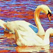 Birds On The Lake Art Print