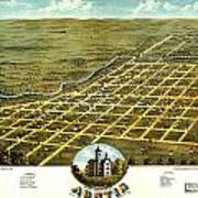 Birdseye View Of Austin Minnesota 1870 Art Print