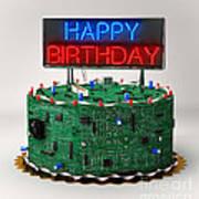 Birthday Cake For Geeks Art Print
