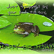Birthday Greeting Card - Bullfrog On Lily Pad Art Print
