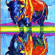 Bison Reflections Art Print
