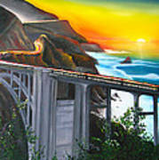Bixby Coastal Bridge Of California At Sunset Art Print