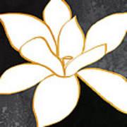 Black And Gold Magnolia- Floral Art Art Print