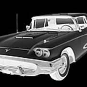 Black And White 1958  Ford Thunderbird  Car Pop Art Art Print