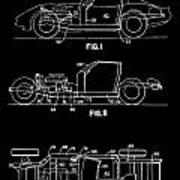 Black And White Corvette Patent Art Print
