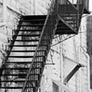 Black And White Fire Escape Usa Near Infrared Art Print