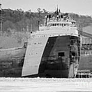 Black And White Freighter Art Print