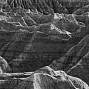 Black And White Image Of The Badlands Art Print