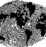 black and white ink print poster One of a Kind Global Fingerprint Art Print