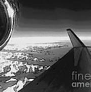 Jet Pop Art Plane Black And White  Art Print