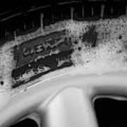 Black And White Mini-cooper Soapy Wheel Art Print