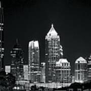 Black And White Night In Atlanta Art Print