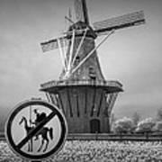 Black And White No Tilting At Windmills Art Print