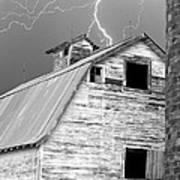 Black And White Old Barn Lightning Strikes Art Print