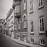 Black And White Old Style Photo Of Old Quebec City Art Print