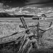 Black And White Photo Of A Wood Fence At The John Moulton Farm Art Print