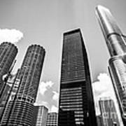 Black And White Photo Of Chicago Skyscrapers Art Print