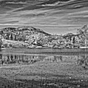 Black And White Photo Of Long Pond Acadia National Park Maine Art Print