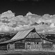 Black And White Photo Of The T.a. Moulton Barn In The Grand Tetons Art Print