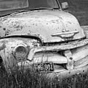 Black And White Photograph A Vintage Junk Chevy Pickup Truck Art Print