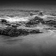 Black And White Photograph Of Waves Crashing On The Shore At Sand Beach Art Print