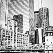 Black And White Picture Of Chicago At Lasalle Bridge Art Print