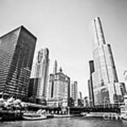 Black And White Picture Of Downtown Chicago Art Print