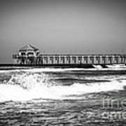 Black And White Picture Of Huntington Beach Pier Art Print by Paul Velgos