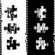 Black And White Puzzles Digital Painting Art Print