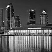 Black And White Tampa Night Art Print