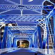 Black Cat Blue Bridge Art Print