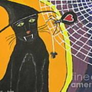 Black Cat In A Hat  Art Print