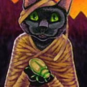 Black Cat Mummy Monster Art Print