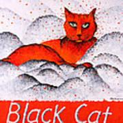 Black Cat Orange Art Print