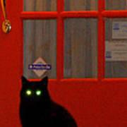 Black Cat Red Door Art Print by DerekTXFactor Creative