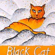 Black Cat Yellow Art Print