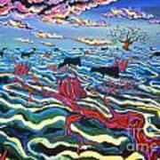Black Cows In Flood Art Print