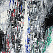 Black Crystal Cave - Black White Abstract By Chakramoon Art Print
